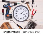 construction tooling on wooden... | Shutterstock . vector #1046438140