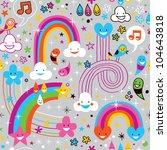 clouds rainbows rain drops fun pattern - stock photo