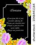flower frame on black... | Shutterstock .eps vector #1046441164