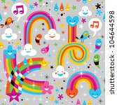 clouds rainbows rain drops hearts pattern - stock photo