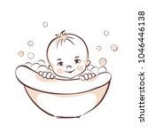 baby bathe in the tub   vector... | Shutterstock .eps vector #1046446138