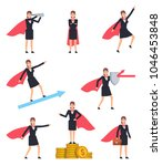 set of business woman with... | Shutterstock .eps vector #1046453848