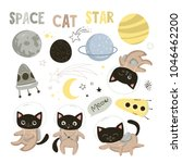 set of elements with cute cats... | Shutterstock .eps vector #1046462200