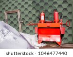 fire extinguisher on the wall... | Shutterstock . vector #1046477440