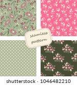 set of 4 vintage seamless... | Shutterstock .eps vector #1046482210