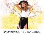 spring attractive romantic... | Shutterstock . vector #1046483008