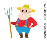 old farmer in cartoon style... | Shutterstock .eps vector #1046484796