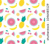 pattern with sweet watermelon ... | Shutterstock .eps vector #1046485129