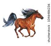 watercolor horse runs galloping....   Shutterstock . vector #1046486236