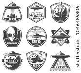vintage monochrome ufo labels... | Shutterstock .eps vector #1046486806