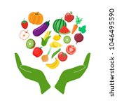vegetables  fruit  hands and... | Shutterstock .eps vector #1046495590
