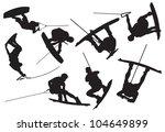wakeboarding silhouette   Shutterstock .eps vector #104649899