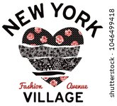 New York village typography patchwork hearth , print  for woman shirt with applique fabric embroidery