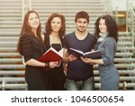 group of students talking and... | Shutterstock . vector #1046500654