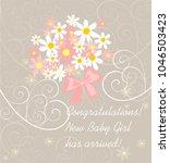 baby girl arrival pastel... | Shutterstock .eps vector #1046503423