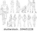 fashion people outline   vector ... | Shutterstock .eps vector #104651228