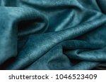 blue green fabric in drapery ... | Shutterstock . vector #1046523409