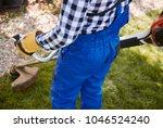 unrecognizable gardener with... | Shutterstock . vector #1046524240