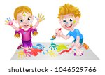 cartoon boy and girl playing... | Shutterstock .eps vector #1046529766