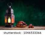 ramadan concept. dates close up ... | Shutterstock . vector #1046533366