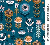 folk floral seamless pattern....   Shutterstock .eps vector #1046540650