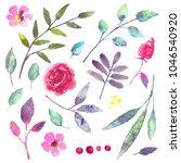 watercolor flowers  leaves ... | Shutterstock . vector #1046540920