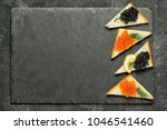 sandwiges with red salmon... | Shutterstock . vector #1046541460