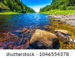 Small photo of Forest river stones landscape