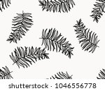 seamless with tropical leaves . | Shutterstock .eps vector #1046556778