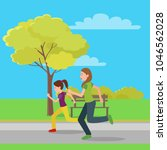 running mom and daughter  color ...   Shutterstock .eps vector #1046562028