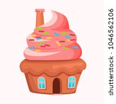 cupcake house with chimney on... | Shutterstock .eps vector #1046562106