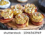 baked crispy potato roses with... | Shutterstock . vector #1046563969