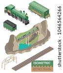 3d isometric retro railway with ... | Shutterstock .eps vector #1046564266