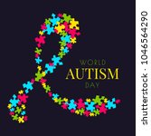 autism awareness poster with a...   Shutterstock .eps vector #1046564290