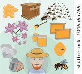 colorful male beekeeper... | Shutterstock .eps vector #1046565766