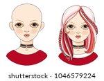 avatar beautiful girl with an... | Shutterstock .eps vector #1046579224