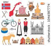 set with norwegian symbols ... | Shutterstock .eps vector #1046587774