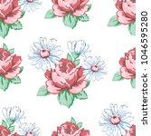 rose and chamomile flower hand... | Shutterstock .eps vector #1046595280