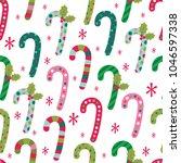 fun christmas candy pattern  | Shutterstock .eps vector #1046597338