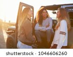three young female friends on a ... | Shutterstock . vector #1046606260