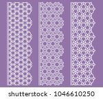 vector set of line borders with ... | Shutterstock .eps vector #1046610250