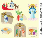 set for christianity holy week... | Shutterstock .eps vector #1046621104