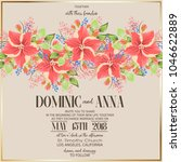 wedding invitation with flowers | Shutterstock . vector #1046622889