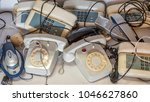 accumulation of old phones | Shutterstock . vector #1046627860