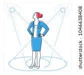 confident businesswoman   line... | Shutterstock .eps vector #1046638408
