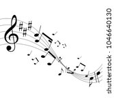music notes on staves | Shutterstock .eps vector #1046640130