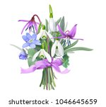 bouquet of forest flowers with... | Shutterstock .eps vector #1046645659