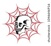 traditional skull and web... | Shutterstock .eps vector #1046646916