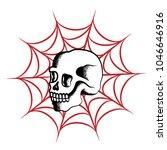 skull and spider web dotwork... | Shutterstock .eps vector #1046646916