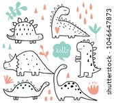 Stock vector cute dinosaurs and tropic plants funny cartoon dino collection hand drawn vector doodle set for 1046647873